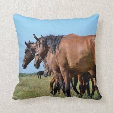 Beautiful Bay Horses Throw Pillow