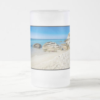 Beautiful beach at the Mediterranean Sea Frosted Glass Beer Mug