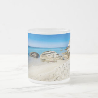 Beautiful beach at the Mediterranean Sea Frosted Glass Coffee Mug