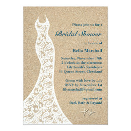 Beautiful Beach Bridal Shower Invitation Turquoise