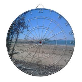 Beautiful beach dartboard with darts