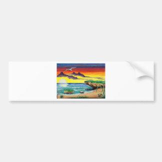 Beautiful Beach Hand Painted Paradise Bumper Sticker