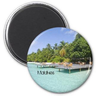 Beautiful beach in maldives 2 inch round magnet