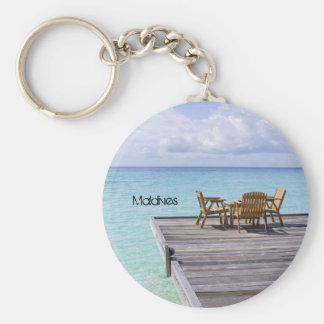 Beautiful beach in maldives basic round button keychain