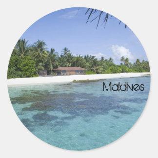 Beautiful beach in maldives classic round sticker