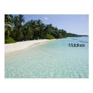 Beautiful beach in maldives postcard