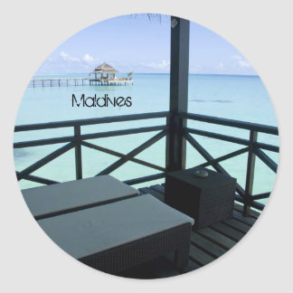 Beautiful beach in maldives round stickers