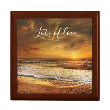Beach Themed Beautiful Beach / Ocean Sunset Lots of Love Jewelry Box