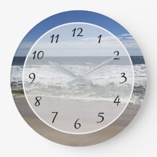 Beautiful Beach Photo Ocean Waves Clock