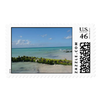 beautiful beach postage stamps