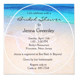 Beautiful Beach Sand Dollar Bridal Wedding Showe Card