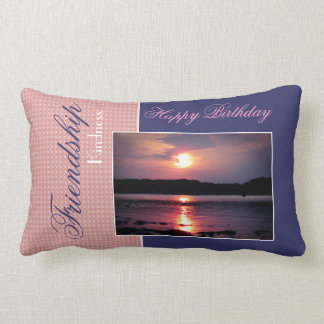 Beautiful Beach Sunrise (Friend - Happy Birthday) Lumbar Pillow