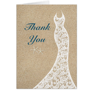 Beautiful Beach Thank You Card in Turquoise