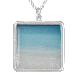 Beautiful Beach | Turks and Caicos Photo Silver Plated Necklace