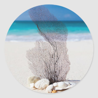 Beautiful Beach Turquoise Water and Blue Sky Classic Round Sticker