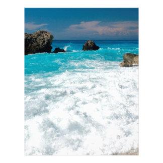 Beautiful Beach Water Surf Aloha Hawaiian Wedding Letterhead Template