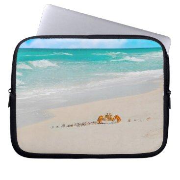 Beach Themed Beautiful Beach With Crab Laptop Sleeve