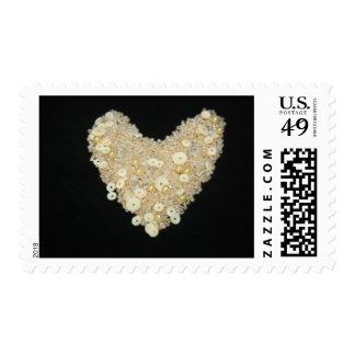 Beautiful Bead and Sequins Heart Postage