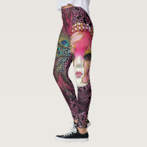 Beautiful Beads & Feathers Mardi Gras Mask Leggings