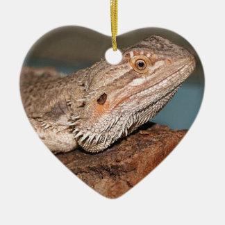 Beautiful Bearded Dragon Double-Sided Heart Ceramic Christmas Ornament