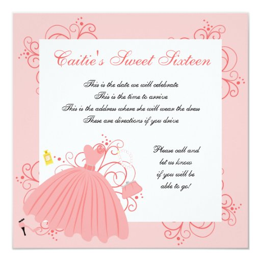 Beautiful, Beautiful Dress 5.25x5.25 Square Paper Invitation Card