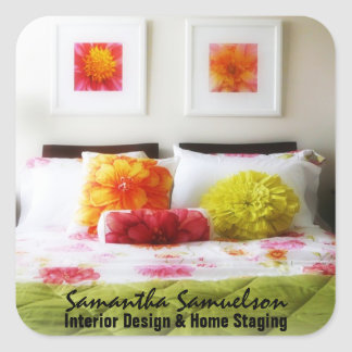 Beautiful Bed and Bedroom Decor Square Sticker