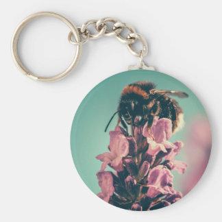 Beautiful bee flower nature scenery keychain