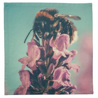 Beautiful bee flower nature scenery printed napkins