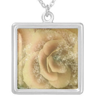 Beautiful Begonia, floral Yellow Peach, Necklace