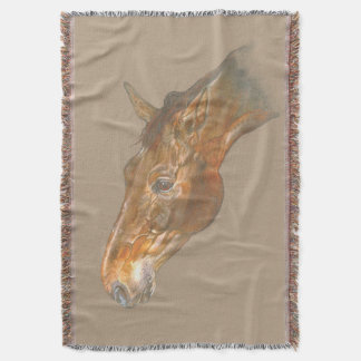 beautiful Belgian Warmblood horse head image Throw Blanket