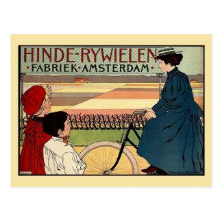 Beautiful belle époque Dutch vintage bicycle ad Postcard