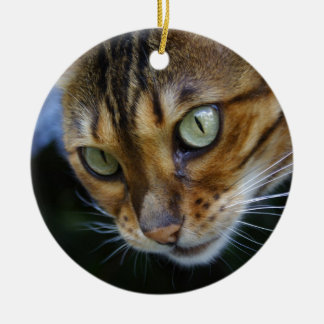 Beautiful Bengal Cat Double-Sided Ceramic Round Christmas Ornament