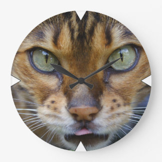 Beautiful Bengal Cat Large Clock