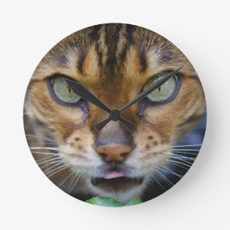 Beautiful Bengal Cat Round Clock