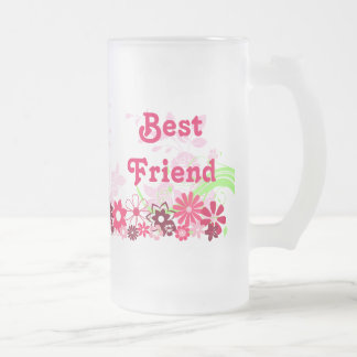 Beautiful Best Friend Friendship BFF Bright Cheery Frosted Glass Beer Mug