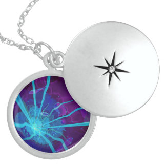 Beautiful Bioluminescent Sea Anemone FractalFlower Sterling Silver Necklace