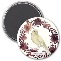 Beautiful Bird in Botanical Wreath with Name Magnet