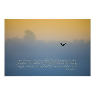Beautiful bird in clouds with spiritual quote print