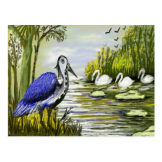 Beautiful Birds By Lakeside Postcard