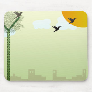 Beautiful birds flying and reddish sun mouse pad