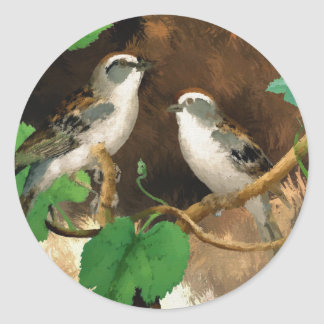 Beautiful Birds Sparrows Nature, Glossy Stickers