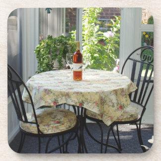 Beautiful Bistro Table Garden Scene Coaster Set