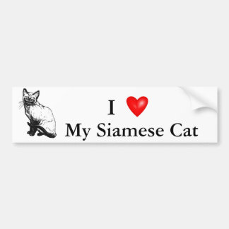 Beautiful black and white artwork - Siamese cat Bumper Sticker