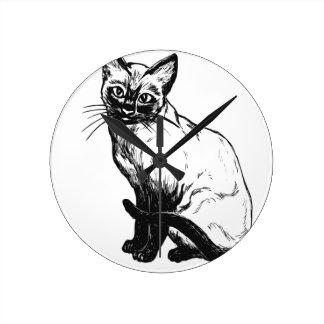 Beautiful black and white artwork - Siamese cat Round Clock