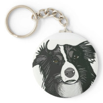 Beautiful Black and White Border Collie Key Chain