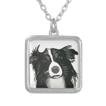 Beautiful Black and White Border Collie Silver Plated Necklace