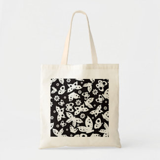 Beautiful Black and White Butterflies Canvas Bags