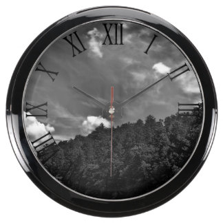 Beautiful Black and White Cloud Nature Sky Photo Fish Tank Clocks