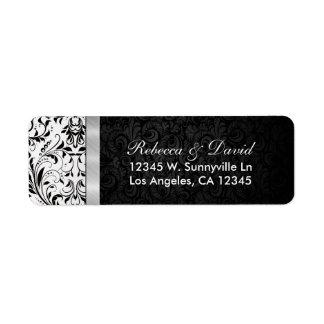 Beautiful Black and White Damask Label