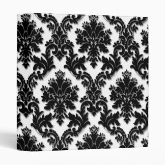 Beautiful Black and White Damask Pattern 3 Ring Binder
